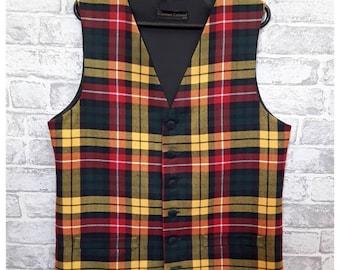 """Men's Tartan Vest, Men's Tartan Waistcoat, Men's Wool Tartan Waistcoat, Men's Wool Tartan Waistcoat (Buchanan) 40""""-42"""" Chest"""