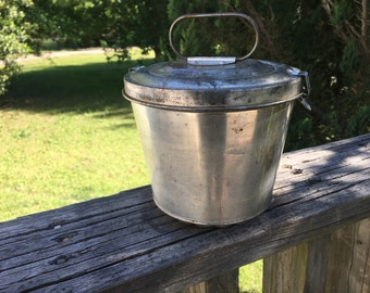 Vintage West Germany Bundt Steamed Pudding Mold--Lidded Tin Pan--Aged Baking Pan--European Country Kitchen Decor--Home Decor