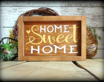 Home Sweet Home Sign, Framed Wooden Sign, Wedding Gift, Housewarming Gift, Country Rustic Home Decor, Gifts For Her, Couple Gift, Wood Sign