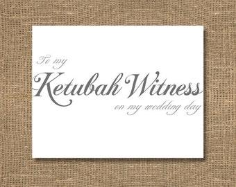To My Ketubah Witness on My Wedding Day - Wedding Card