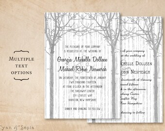 Winter Trees - Printable 5x7 Wedding Invitation - Tree Wood Branches Twig Birch Rustic Nature Casual Customized DIY -Gray Silver Black White