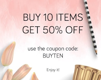 Coupon BUY 10 items GET 50% OFF