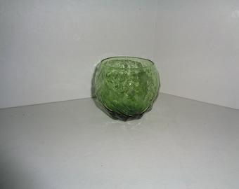 Anchor Hocking Avocado Green Lido Milano Roly Poly Glass