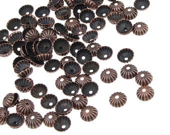 144 Bead Caps - 5mm Antique Copper Beadcaps - Aged Solid Copper Metal Dome Beads (FSAC50)
