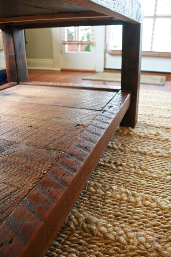 Beautiful Oversized Coffee Table Made From New Orleans Barge Board And Reclaimed Wood