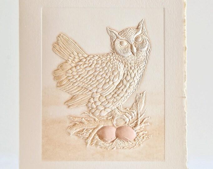 Owl Card Letterpress Birthday Card Embossed. Great Horned Owl. Single note card. Blank inside.