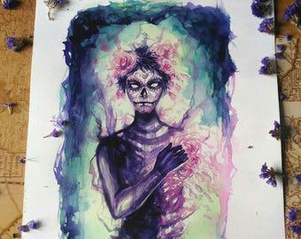 "Original watercolor - sugarskull - 23x29,5cm - 9""x11,6""  - no frame"