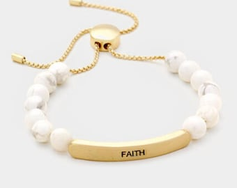 Faith semi percius stone metal bar bracelet