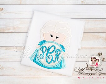 Monogrammed Ice Queen Shirt - Custom Snow Princess Monogram Shirt - Baby Girl Princess Outfit - Elsa Inspired Shirt