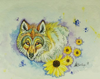Sunflower Wolf, Watercolor Illustration, flowers, Mixed-Media, Original Painting