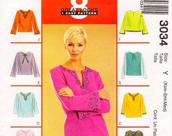 Sz Xsm/Sml/Med - McCall's Top Pattern 3034 - Misses' V-Neckline Top in Eight Variations - McCall's 8 Great Looks 1 Easy Pattern