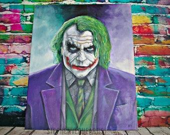Heath Ledger's Joker Handpainted Canvas Painting Wall Art