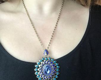 Antique Charm, Blue Pendant, Statement Necklace, Antique Necklace