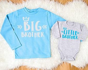 Big Brother Little Brother Set. Matching Sibling Outfits. Big Brother and Little Brother Baby Bodysuit Set. Matching Sibling Shirts