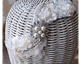 Ivory Crystal Hand Sewn Floral Beaded Wedding Bride Dancer Costume Hairpiece Headband