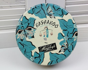 Vintage Kashakoo Hagley's Round Candy Tin Chicago Illinois IL Teal Blue Cream Black Asian Candy Tin Leaves Butterflies #94