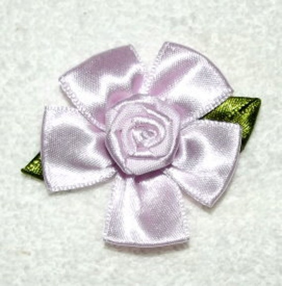 "large 2""  lilac ribbon roses appliques daisy like flowers"