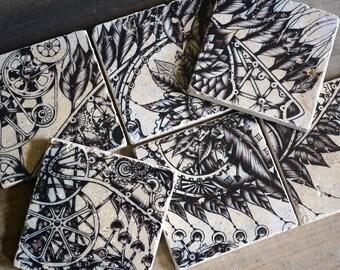 Coaster set-6 steampunk Timemachine Marble Tiles
