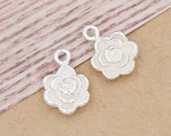 2 of 925 Sterling Silver Rose Charms 9mm. :th2504