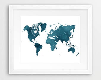 World Map Watercolor Print, World Map Watercolor Navy Blue Indigo Poster, Modern Wall Art, Home Office Decor, Travel Poster, Printable Art