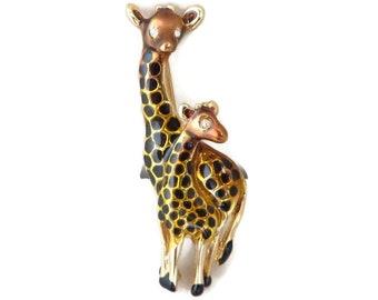 Vintage Giraffes Brooch, Danecraft Figural Pin, Mother & Baby Giraffe Pin, Rhinestone Eyes Brooch, Gift Idea