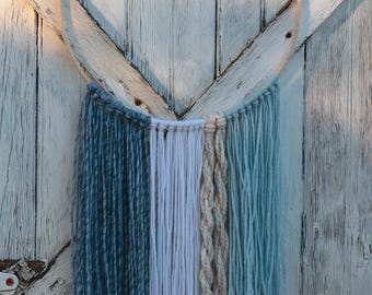 White Sand Blue Waves Yarn Wall Hanging