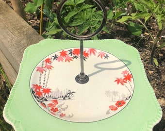 Vintage single tier cake stand, oriental design, red black & green. Afternoon tea, tea party.