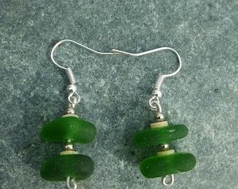 Green Sea Glass earrings, Sea Glass Earrings, Sea glass, Drop earrings, Silver earrings, Mothers day gift, Birthday gift, Gift for her.