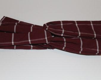 Red Plaid Twisted Headband