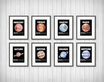 Planet Fact Prints, Solar System, Outer Space Wall At, Planet Decor, Outer Space Decor, Planet Print Set, PRINTABLE 11x14