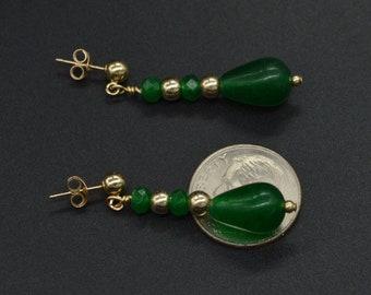 New 14K Solid Gold 12x 8 Natural Emerald Teardrop Earrings