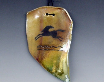 Golden Glossy Raku Ceramic Wall Hanging with Horse