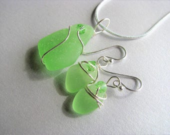 VERY RARE Vaseline Sea Glass Uranium Glass Jewelry Set - Sea Glass Pendant and Earring Set-Unusual Ocean Jewelry Set - Vaseline Beach Glass