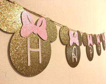 Minnie mouse birthday banner. Minnie Mouse birthday decorations, Minnie Mouse Happy Birthday Banner, Birthday Banner, Minnie Mouse
