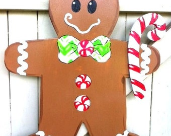 Gingerbread Man Girl Wooden Door Hanger Christmas Whole Family  sc 1 st  Etsy & Christmas Gingerbread Girl Wooden Door Hanger Yard Sign