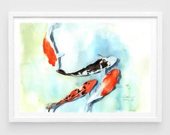 """Original watercolor,fish koi,original painting,7""""x10"""",home decor"""