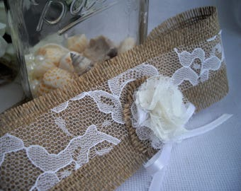DIY Mason Jar Ties Fits Any Size Burlap and Lace Shabby Chic Flowers For Napkin Rings or Any Container Centerpiece That You Choose Handmade