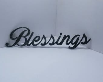 Blessings Cursive Script Word Art Wall Hanging Sign Plaque Home Decor Typography