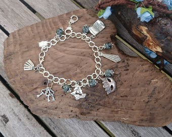 50 Shades of Grey Themed Charm Bracelet - 50 Shades of grey Jewellery, Christian Grey Gift, Gift for her, Book inspired Bracelet