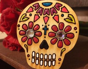 Sugar Skull Wood Magnet