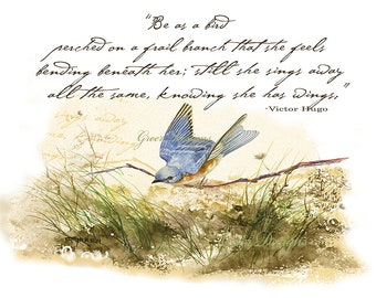 Bluebird Bird on Branch Victor Hugo Poem Watercolor Print 5 by 7