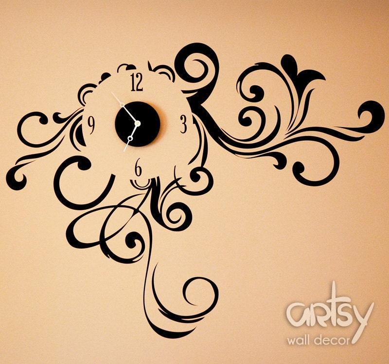 Vinyl Clock Decal Sticker Swirly Dream Modern Clock
