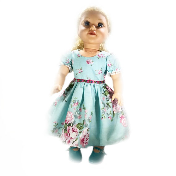 "Aqua Party Dress for American Girl and Other 18"" Dolls: Aqua Floral"