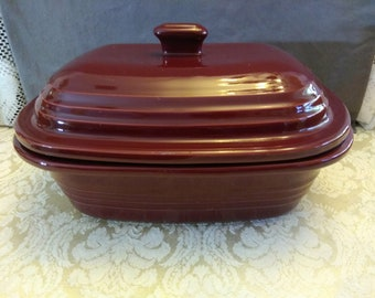 Pampered Chef Cranberry 3.1QT/3L Deep Covered Stoneware Casserole Baker Dish