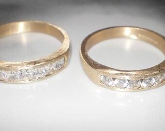 Glamourous diamond Eternity rings - 18K yellow gold , half eternity wedding band, 0.7ct GVVS1 diamonds, free shipping