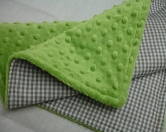 Gray Gingham with Lime Green Minky Baby Lovey 14 x 20 READY TO SHIP