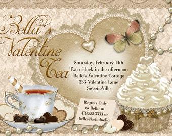 Valentine Tea Party Invitation, Valentines Day Party, Tea Party Invitations