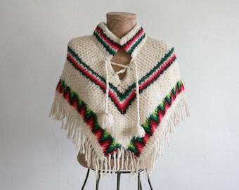 Wool Knit Caplet Poncho