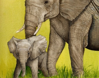 Mother and Baby Elephant Painting - mounted print of original watercolour and gouache painting