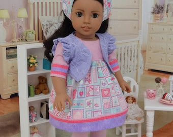 Love Letters - modern bohemian style ensemble for American Girl doll with shoes